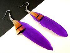 1 Bohemian Pair of Purple Feather Statement Fashion Dangle Earrings - #1700