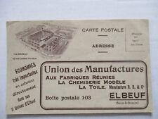 cpsm CPA 76 seine 1920 CP PUB PUBLICITE ELBEUF USINE UNION MANUFACTURE VETEMENT