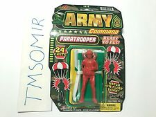 Vintage Ja-Ru Army Command PARATROOPER w/ PARACHUTE Plastic Toy Soldier RED