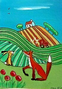 ACEO original miniature painting 'Country Colours' 1 By AlisonE