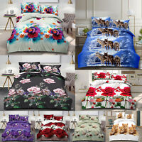 4 Piece Duvet Set 3D Quilt Cover Fitted Sheet & Pillow Case Complete Bedding Set