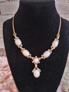 Gold And White With Crystals Gemstone Drop Necklace