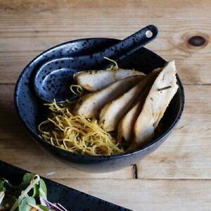 Black Oriental Chinese Noodle Rice Soup Bowl And Spoon Set Porcelain 14cm