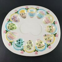 Pastel Hand-painted Ceramic Easter Egg Plate Tray Display Deviled Eggs Spring