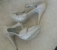New Style & Co shoes pump wedding nude tan shiny prom sandals 6.5 Suki platform