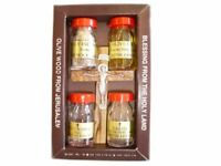 "Holy Land New Collection Package ""Olive Wood Cross, Olive Oil, Soil, Water,"