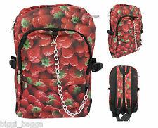 STRAWBERRY Backpack Rucksack School College Goth Emo Skull Cute Festival Bag