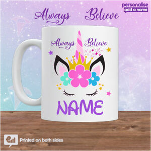 Unicorn Mug PERSONALISED Cute Tea Coffee Cup Kids Fantasy Gift Girls Colourful