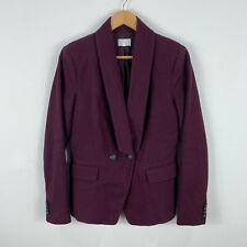 Witchery Womens Blazer Jacket Size 10 Maroon Purple Pea Coat Long Sleeve