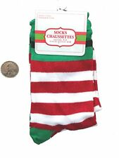 Funky Lolita GLITTER RED WHITE CANDY STRIPE CREW SOCKS Novelty Costume Accessory