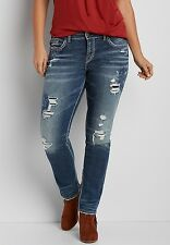 Silver Suki Skinny With Destruction and Embroidery Jeans Plus Size 20 New