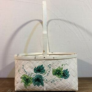 White Painted Green Ivy WICKER Strap Cane Wooden BASKET Handle Plant Pot Planter