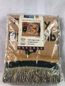 Vintage Beacon Winnie the Pooh Disney Woven Fringe Throw Blanket Rumbly Tumbly