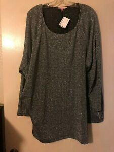 NWT Gibson Latimer Silve/Black Polyester/Metallic/Spandex Sweater Top Size 3X
