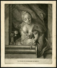 Attractive mezzotint Antique Print-WOMAN-MODESTY-CURTAIN-HIDING-Heiss-ca. 1710