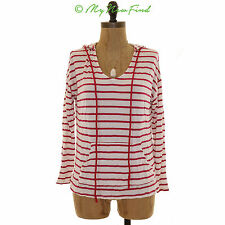 GIBSON CONVERSE CHUCK PATCH HOODED STRIPE LONG SLEEVE KNIT TOP PINK WHITE S B44