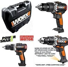 Worx 20v brushless COMBI drill body only with carrying case worx 373