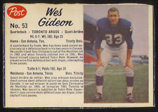 1962 POST CEREAL ~ CFL ~ #53 ~ WES GIDEON ~ SHORT PRINT ~ FULL BORDERS 3 SIDES