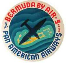 Pan Am  BERMUDA   Vintage-Looking  Travel Decal- Luggage Label- Airlines Sticker