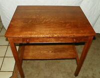 Quartersawn Oak Writing Desk by Cadillac with Lap Top Writing / Ink Well (DR45)