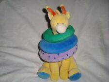 "Russ Giraffe Baby Toy Rattle with Rings Plush 10"" HTF"