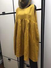 Veritecoeur OS Linen Fern Oversize Ease High Bodice Waist Pleated Skirt Dress