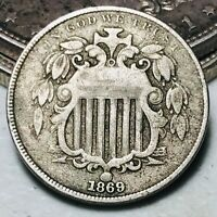 1869 Shield Nickel 5 Cents 5C High Grade Civil War Era Good Date US Coin CC5827