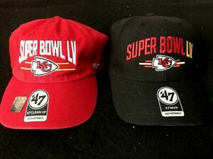 Pack of 2 NFL Super Bowl LV 55 Kansas City Chiefs Adjustable Hats by '47 NEW