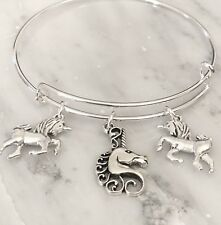 3 Unicorns Silver charms Expandable Bangle Bracelet