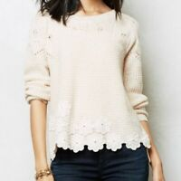 Anthropologie Everleigh XS Crocheted Pullover Floral Sweater