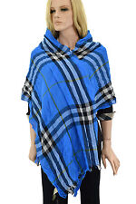 $565 BURBERRY Sky Blue GIANT CHECK Wool Cashmere Women's Wrap Scarf