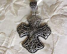 Sterling Silver Open-Work Cross Pendant, 925 Sterling Silver -- 5.2 grams