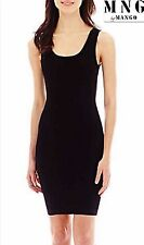 NWT $65 XL (10) MNG by MANGO Black Sleeveless Ribbed Bodycon Sweater Mini Dress