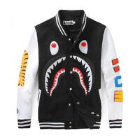 Men/Women Bape A Bathing Ape Shark Jaw Sports Jacket Hoodie Baseball Coat Sweats