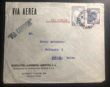 1938 Buenos Aires Argentina Condor Airmail Cover To Zurich Switzerland
