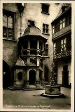 Frankfurt am Main Hessen ~1940 Wendeltreppe Römerhof Fachwerkhaus Brunnen Haus