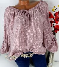 Bluse Shirt Top Oversize Tunika Italy Carmen Sexy Hippie Punkte 44 46