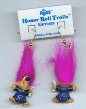 Russ Retired-HONOR ROLL TROLL EARRINGS-Teacher Graduation Novelty Jewelry-PURPLE