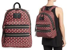 Marc Jacobs Logo Scream Biker Nylon Backpack Womens Shoulder Bag RED MULTI Black