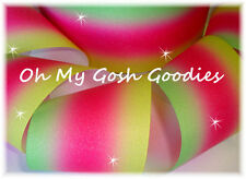 """3"""" Glitter Triple Ombre Cheer Grosgrain Ribbon 4 Tic Toc Bow Pink Lime Yellow"""