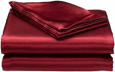 New Royal Opulance Satin Sheet Set Queen Bed Home Fashion Burgundy Smooth Silk