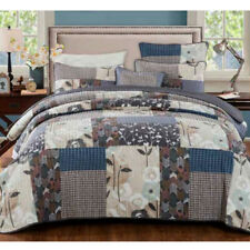 French Country Vintage Patchwork Bed Quilt DESERT BLOOM STORM QUEEN