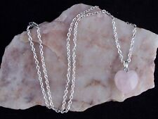 Natural Rose Quartz 16mm Heart Pendant Silver Plated Chain Necklace.Handmade