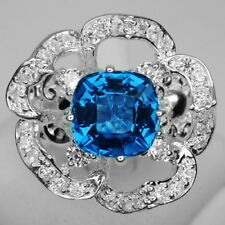 AWESOME! SWISS BLUE TOPAZ MAIN STONE 4.3 CT. & WHITE SAPP 925 SILVER RING SIZE 7