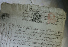 1792 revolution justice manuscript document with rare red stamp nice calligraphy