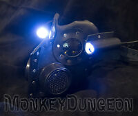 Leather art Warrior Man LED light Steampunk gas mask Halloween comiccon burning