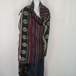 Yak+Sheep Blend Tribal Shawl/Throw  Handloomed Reversible Colors: Black & Sand