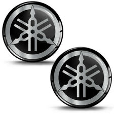 2 x 3D Silicone Gel Stickers Ø 34mm Yamaha Logo Emblem Racing Silver GP