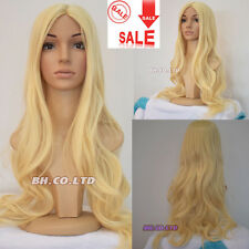 70cm 28 Inches Cosplay Wigs Synthetic Long Curly Wavy Light Blond Full Hair Wig