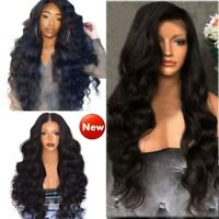 Black Curly Wavy Brazilian Remy Human Hair Body Wave Lace Front Human Hair Wigs^